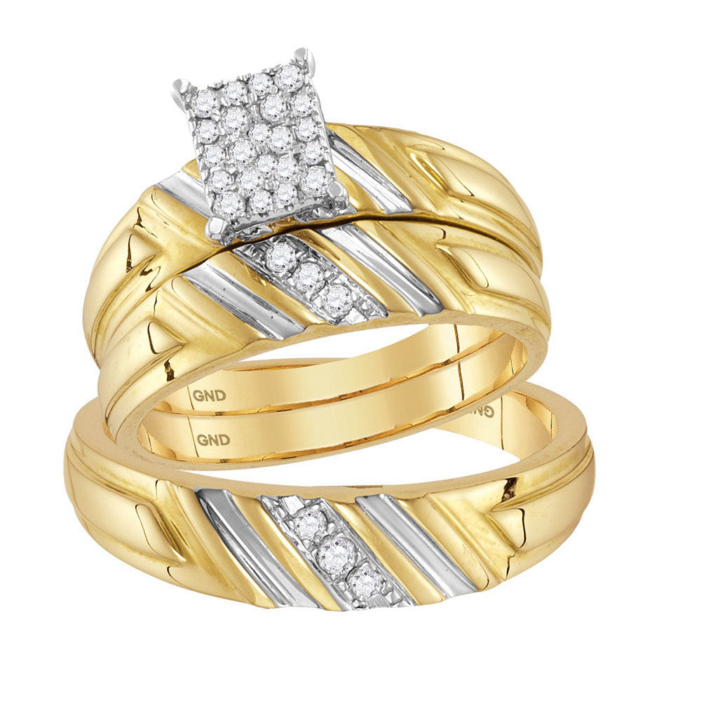 His & Hers Diamond Cluster Matching Bridal Wedding Ring Band Set 1/4 Cttw 14kt Yellow Gold