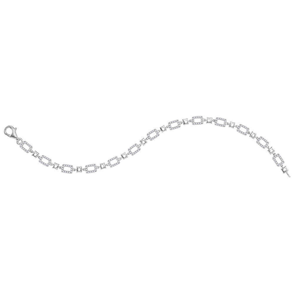 Diamond Rectangle Link Fashion Bracelet 3/4 Cttw 10kt White Gold