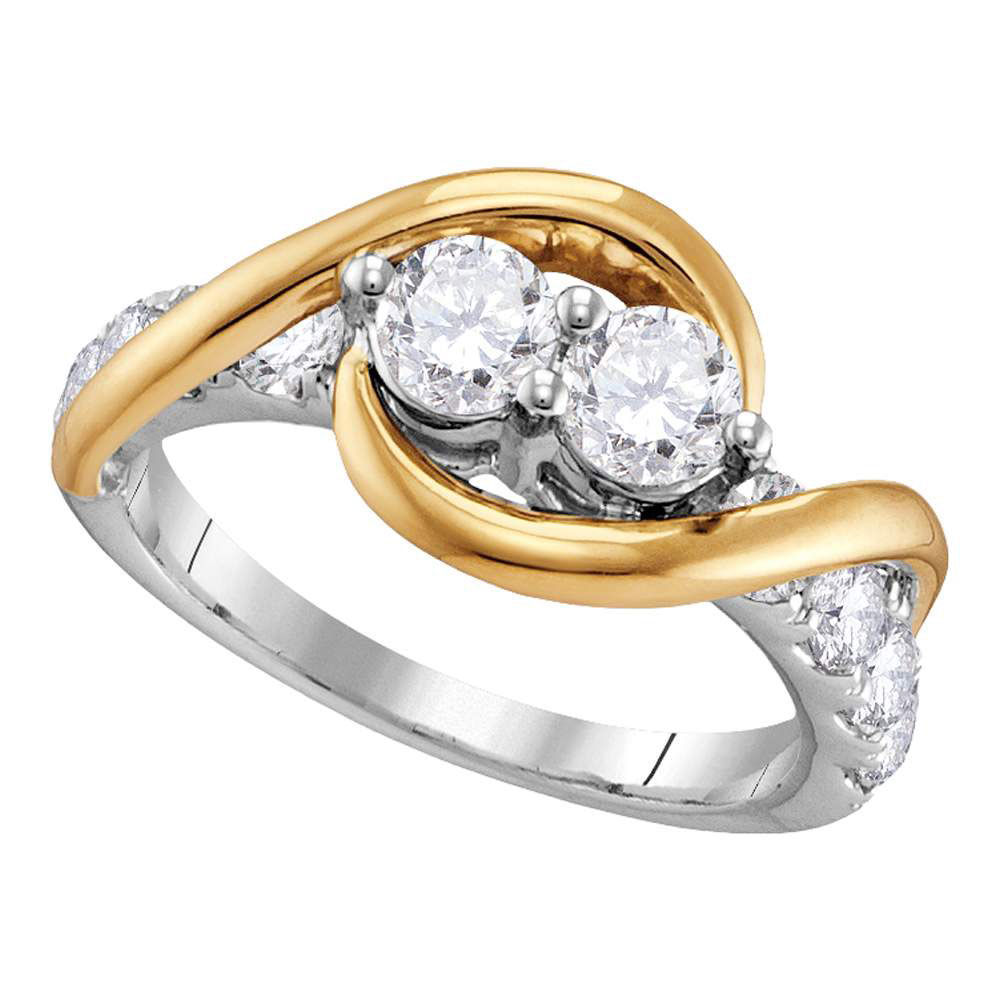 Diamond 2-stone Bridal Wedding Engagement Ring 1/2 Cttw 14kt Two-tone Gold