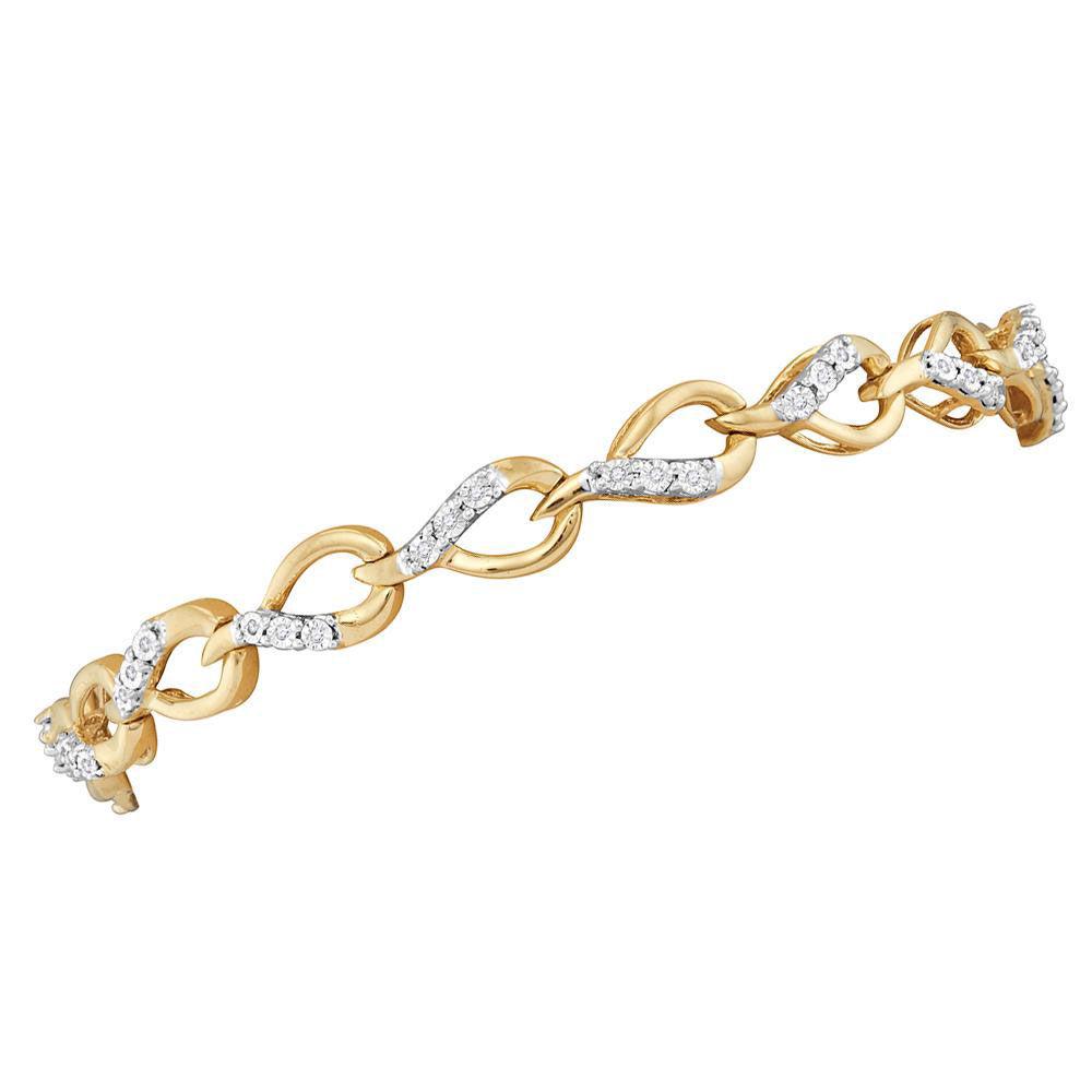 Diamond Linked Teardrop Fashion Bracelet 1/6 Cttw 10kt Yellow Gold