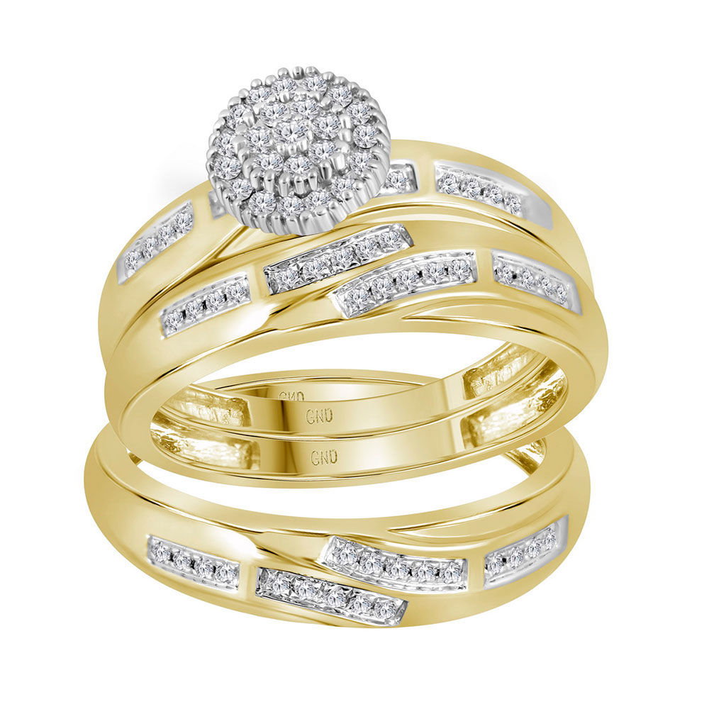 His & Hers Diamond Cluster Matching Bridal Wedding Ring Band Set 1/3 Cttw 14kt Yellow Gold