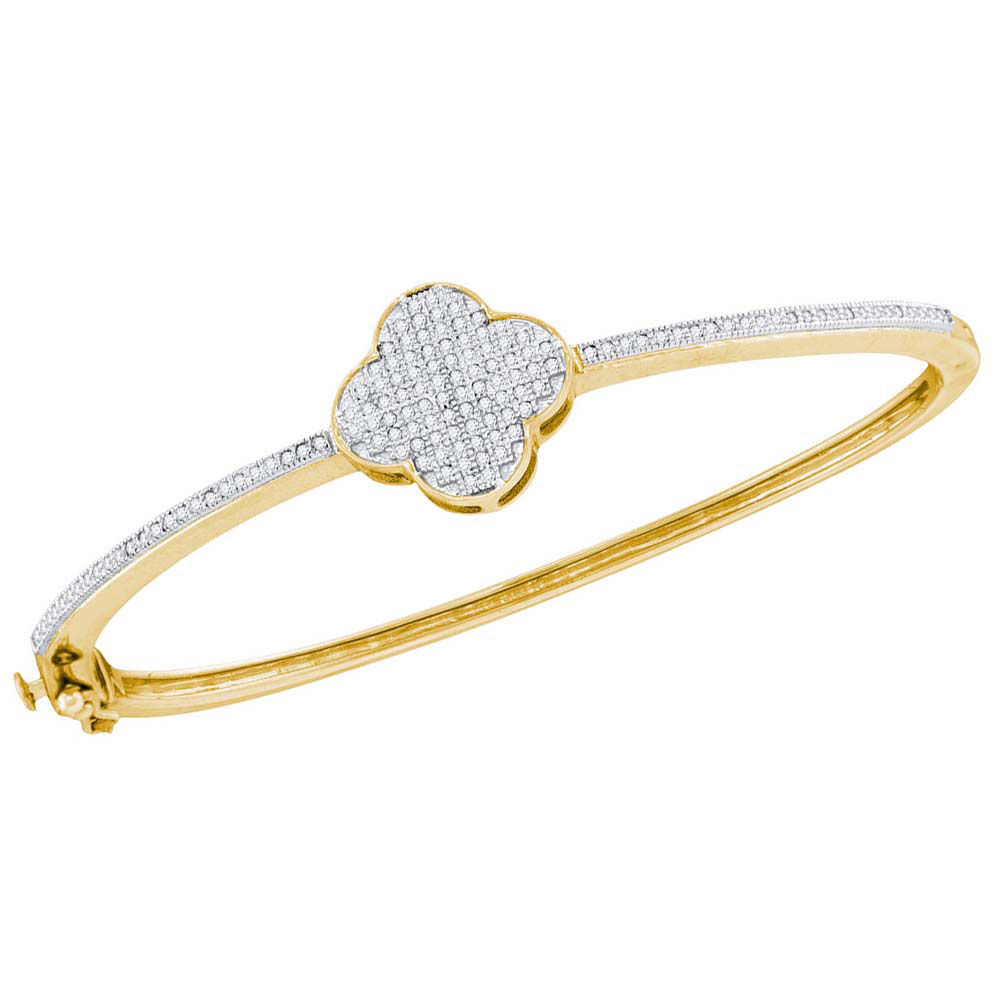 Diamond Quatrefoil Cluster Bangle Bracelet 3/8 Cttw 10kt Yellow Gold