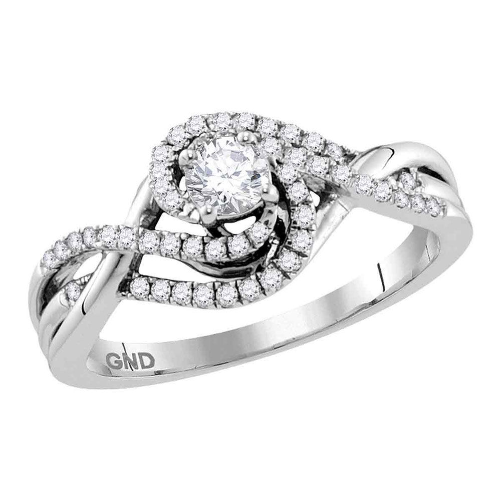 Diamond Solitaire Swirl Crossover Bridal Wedding Engagement Ring 1/2 Cttw 14kt White Gold