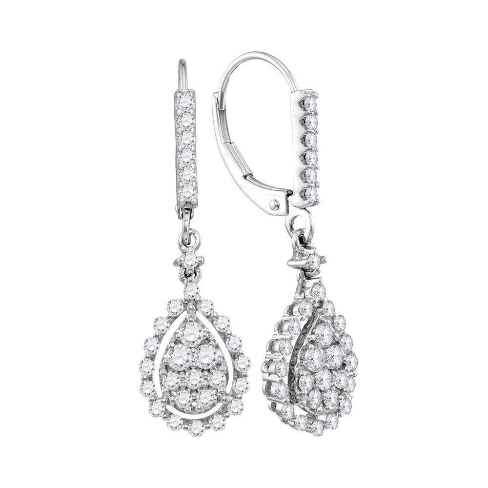 Diamond Teardrop Frame Cluster Dangle Earrings 7/8 Cttw 14kt White Gold