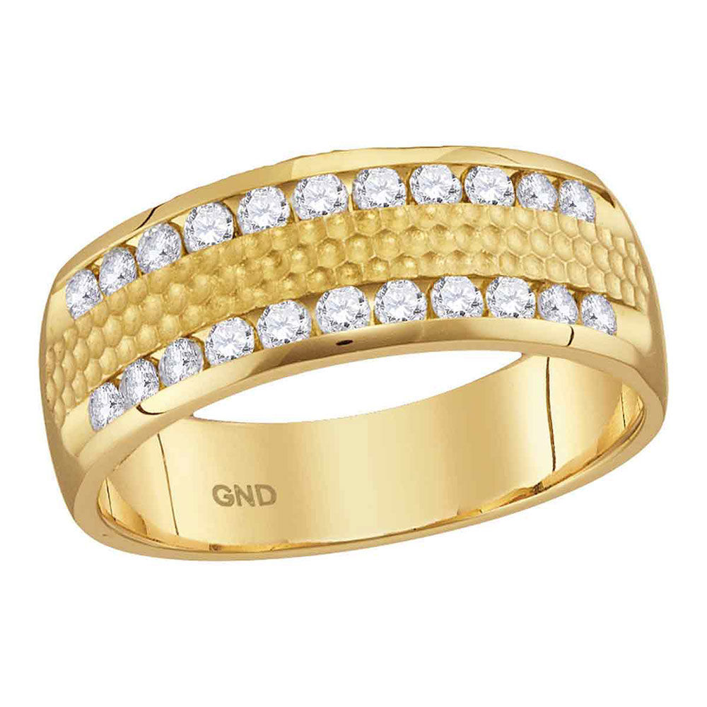 Mens Diamond Double Row Hammered Wedding Band Ring 1/2 Cttw 14kt Yellow Gold