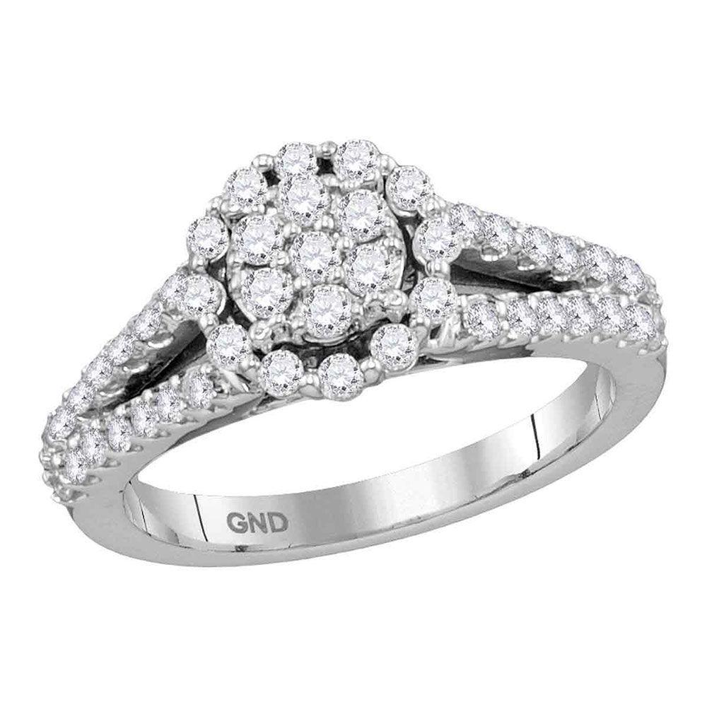 Diamond Flower Cluster Split-shank Ring 3/4 Cttw 14kt White Gold