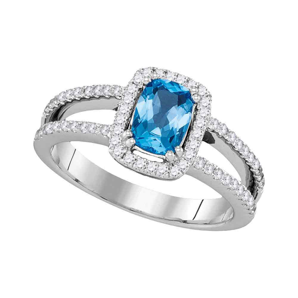 Oval Blue Topaz Solitaire Diamond-accent Ring 1-1/5 Cttw 14kt White Gold