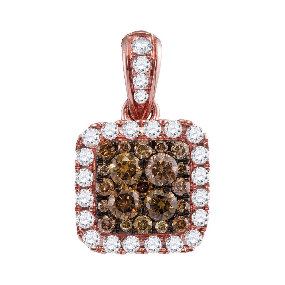 Round Brown Diamond Square Pendant 1.00 Cttw 14kt Rose Gold
