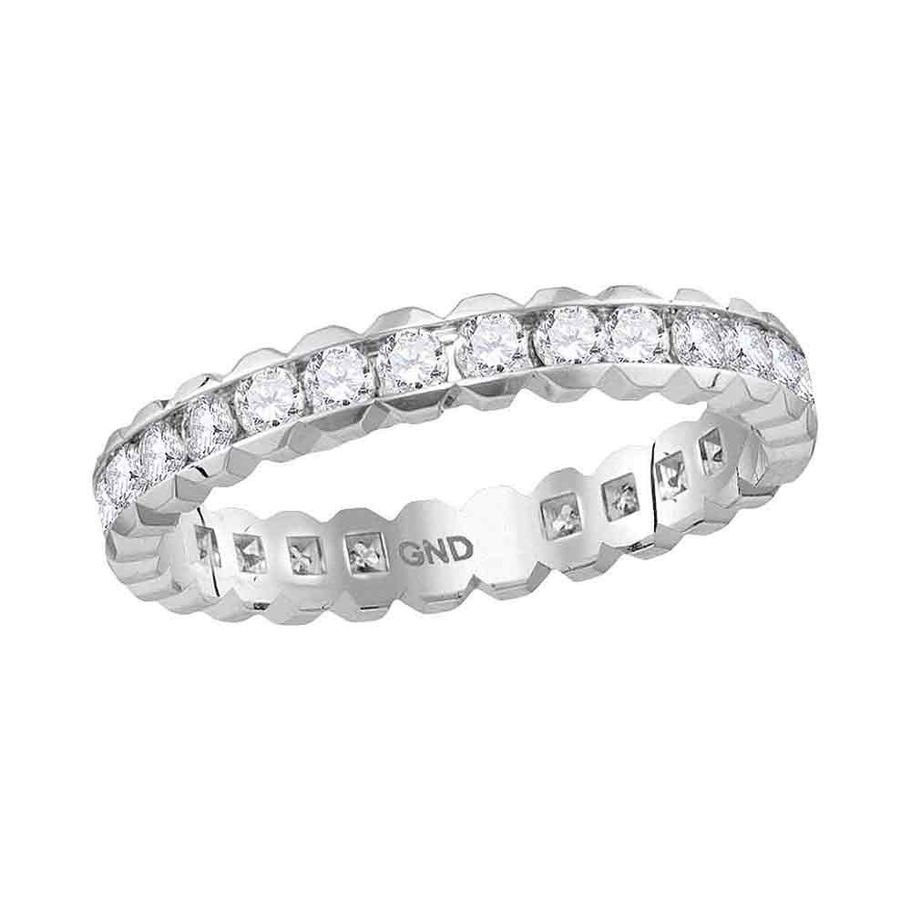 Round Channel-set Diamond Eternity Wedding Band 1.00 Cttw 14kt White Gold