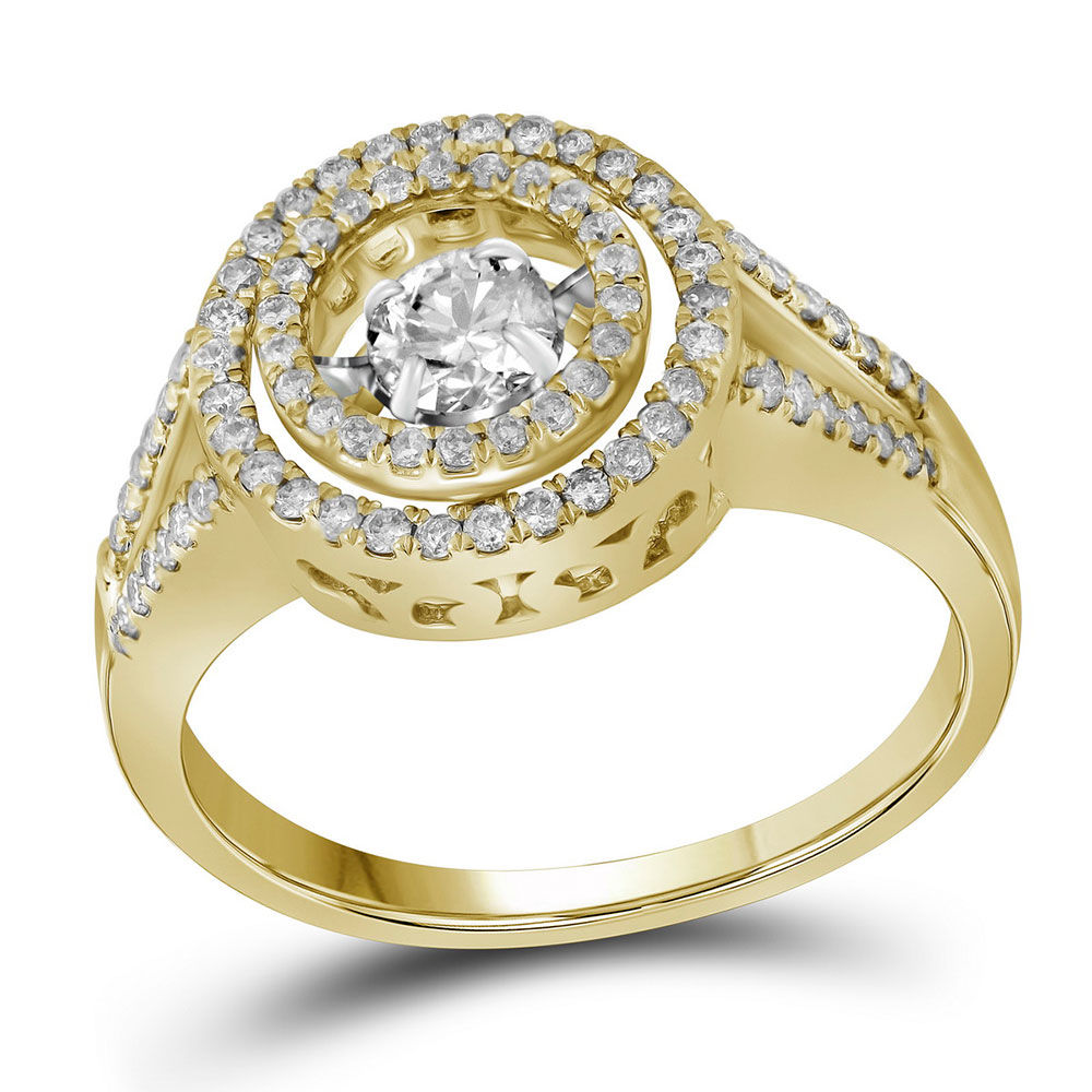 Diamond Moving Twinkle Bridal Wedding Engagement Ring 5/8 Cttw 10kt Yellow Gold