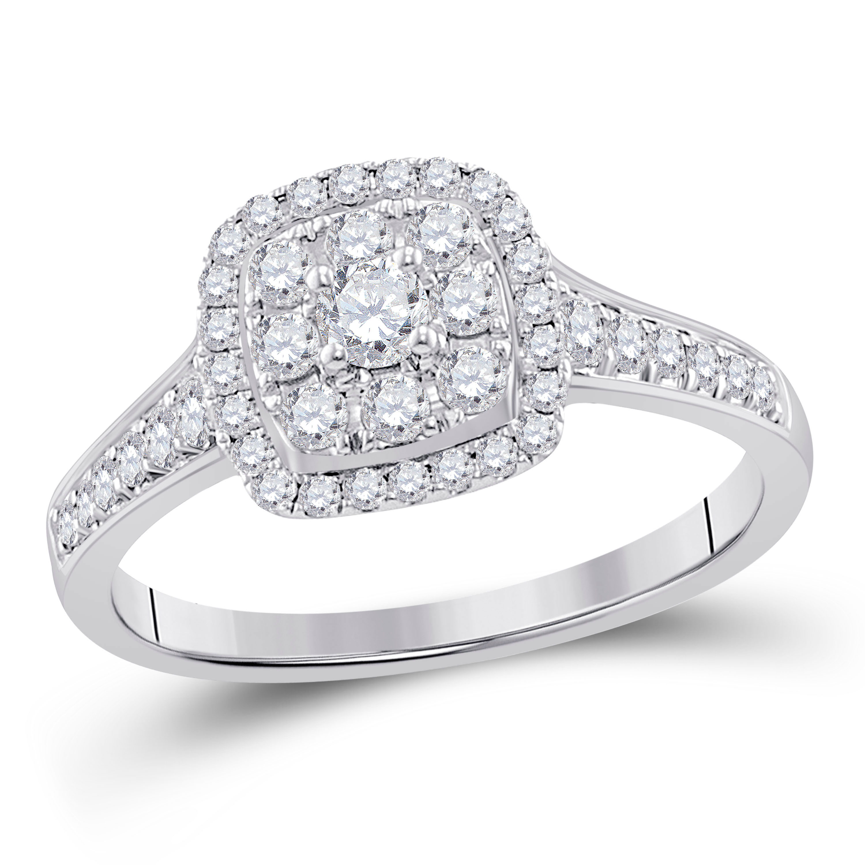Diamond Cluster Bridal Wedding Engagement Ring 5/8 Cttw 14kt White Gold