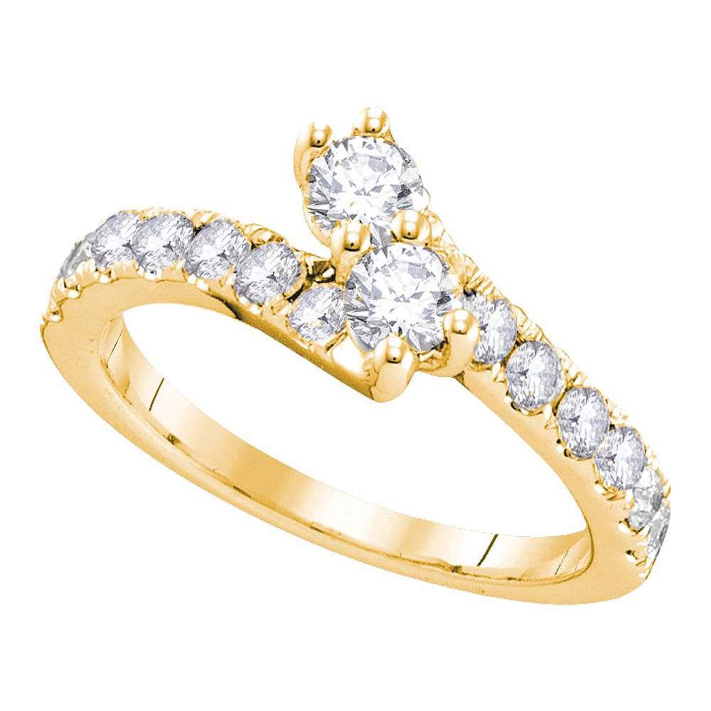 Diamond 2-stone Bridal Wedding Engagement Ring 3/4 Cttw 14kt Yellow Gold
