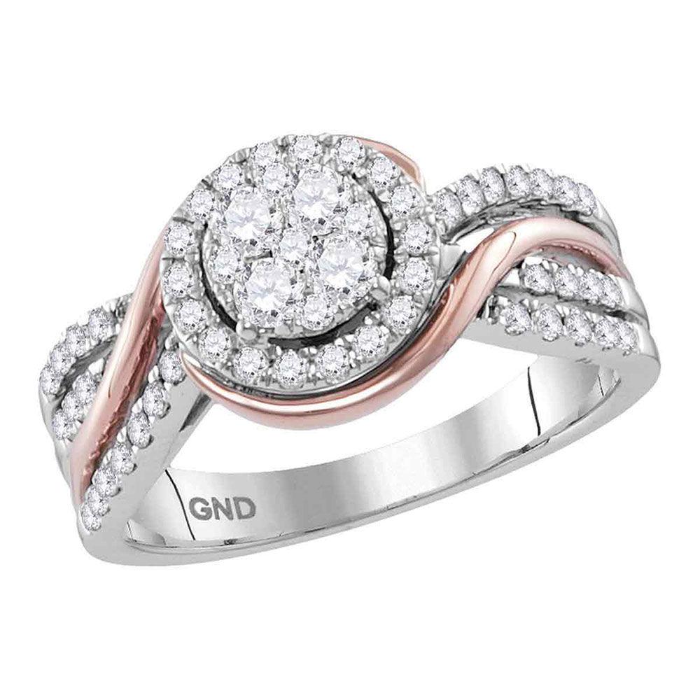 Diamond Cluster Bridal Wedding Engagement Ring 3/4 Cttw 14kt White Rose-tone Gold