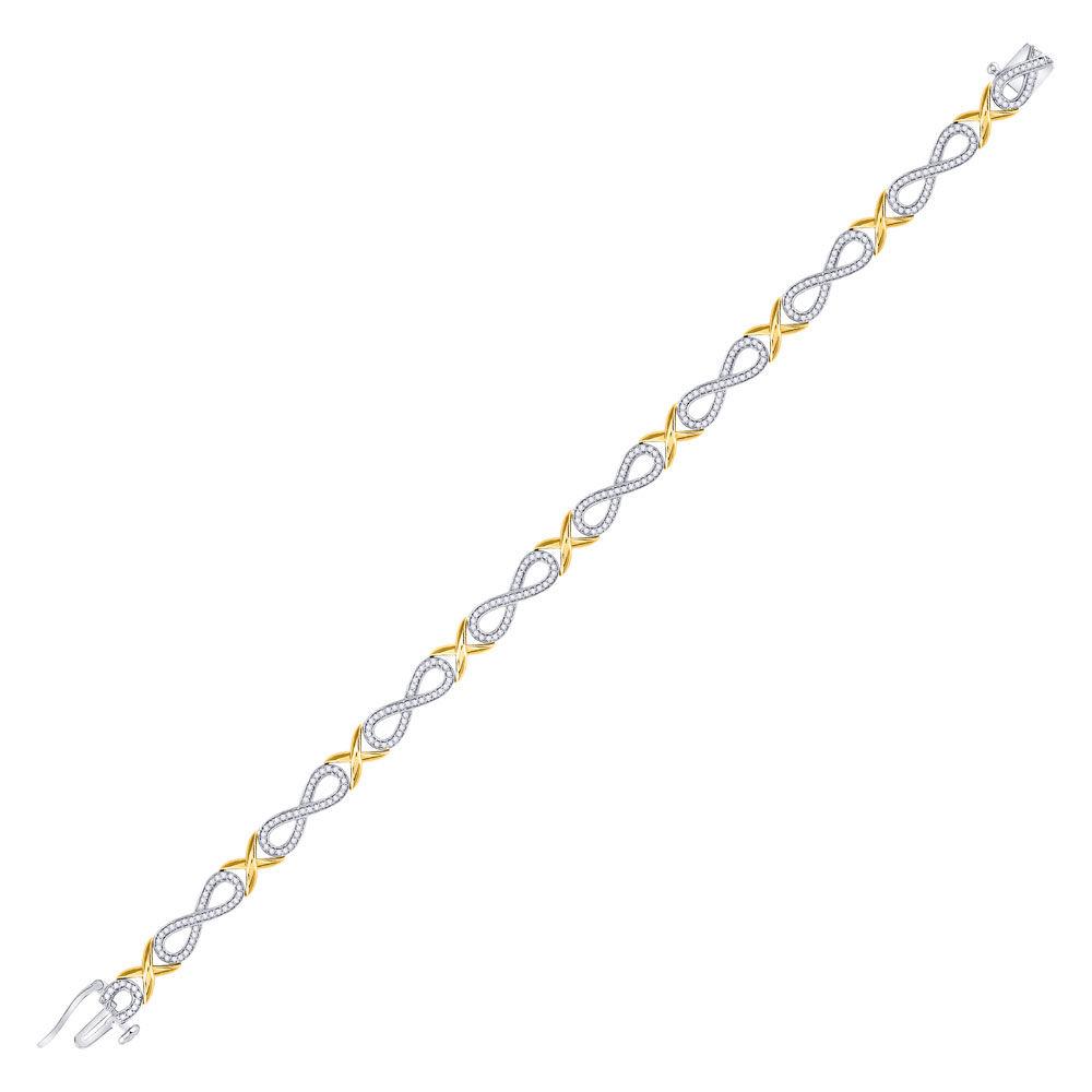 Diamond Infinity Bracelet 1.00 Cttw 10kt Two-tone Gold