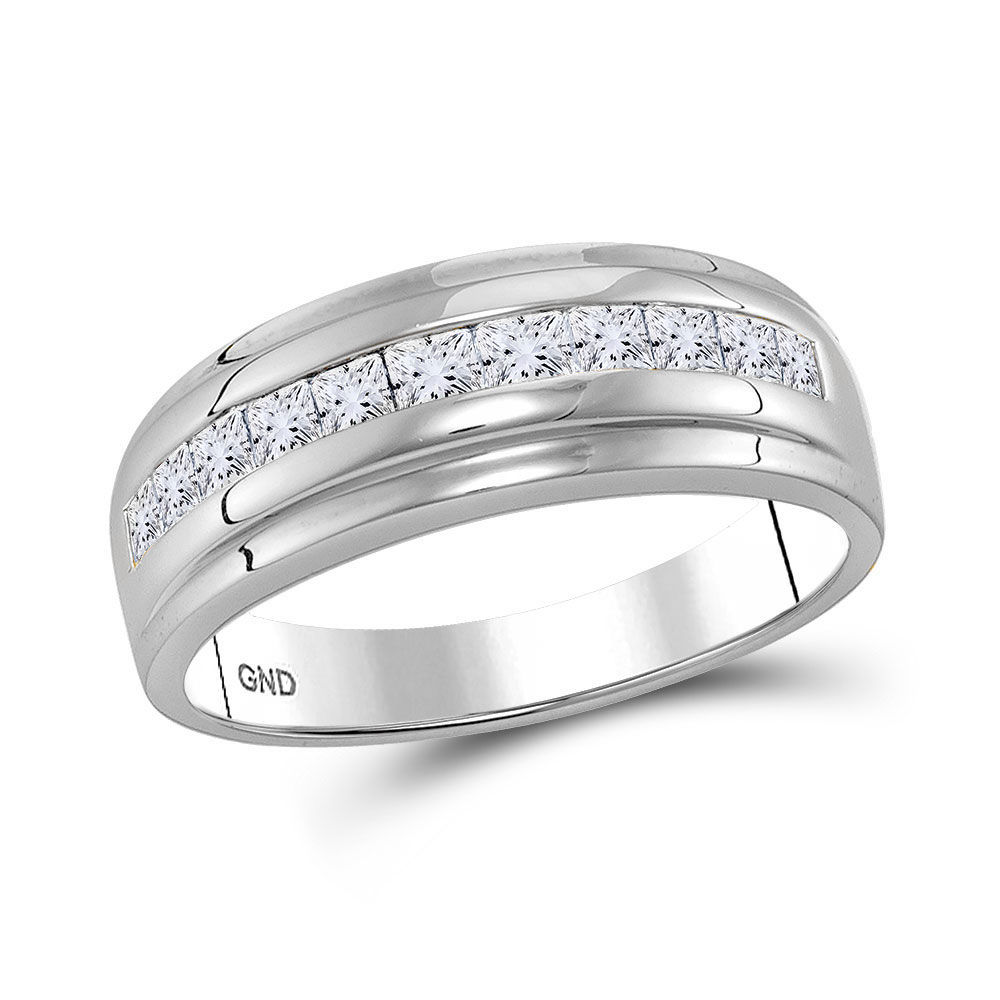 Mens Diamond Single Row Wedding Band Ring 1.00 Cttw 10kt White Gold