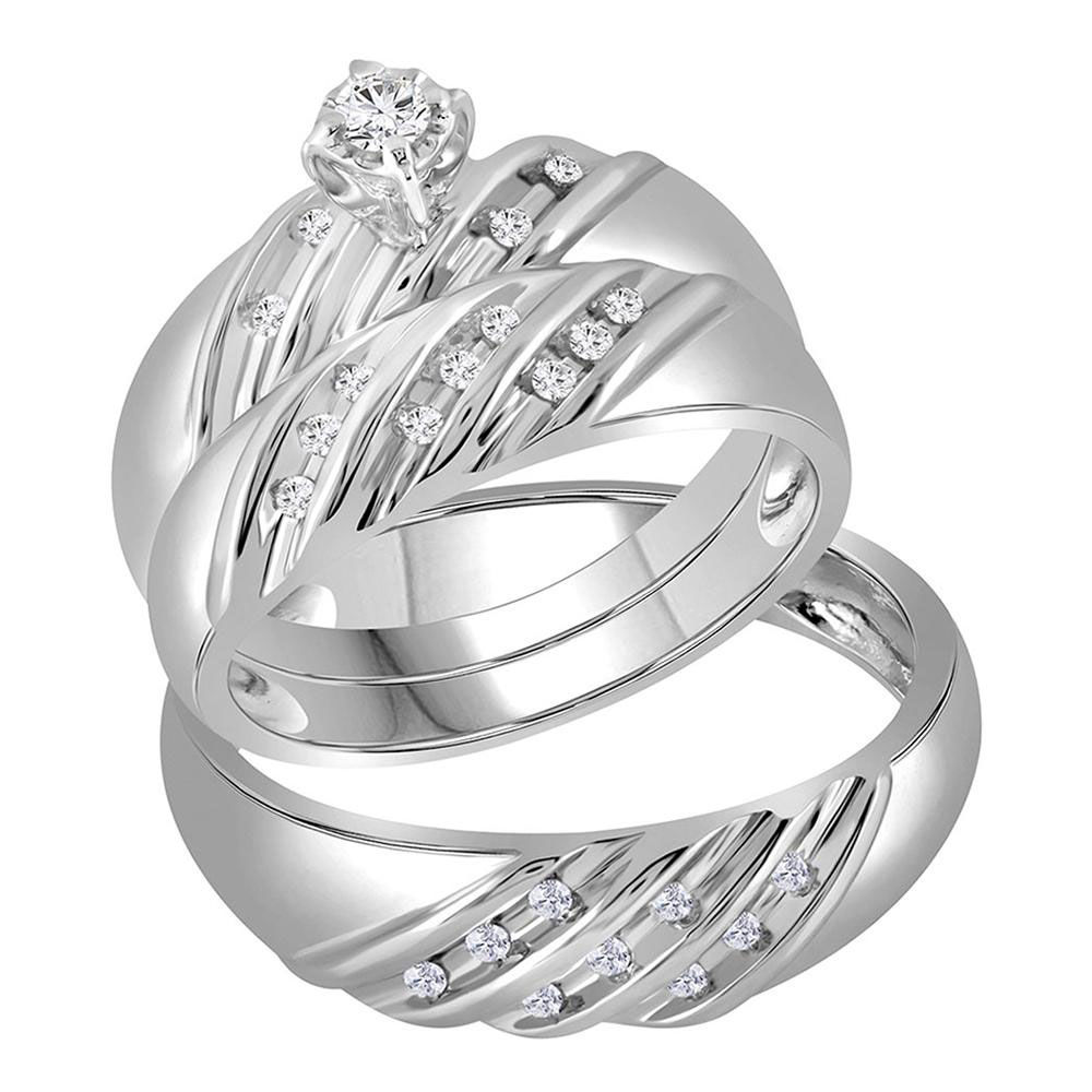 His & Hers Diamond Round Matching Bridal Wedding Ring Band Set 1/4 Cttw 14kt White Gold