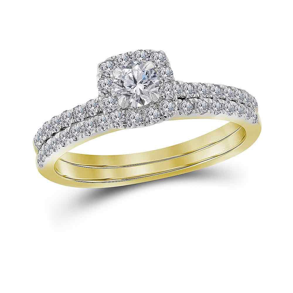 Diamond Halo Bridal Wedding Engagement Ring Band Set 3/4 Cttw 14kt Yellow Gold