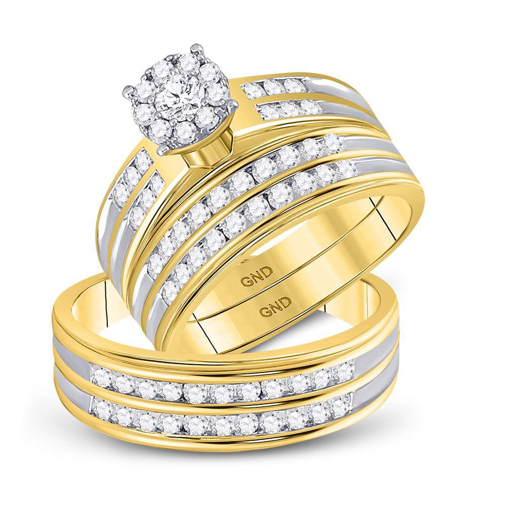 His & Hers Diamond Cluster Matching Bridal Wedding Ring Band Set 1-1/5 Cttw 10kt Yellow Gold