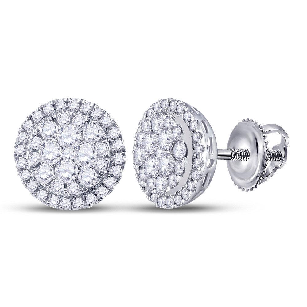 Diamond Halo Cluster Earrings 1.00 Cttw 14kt White Gold