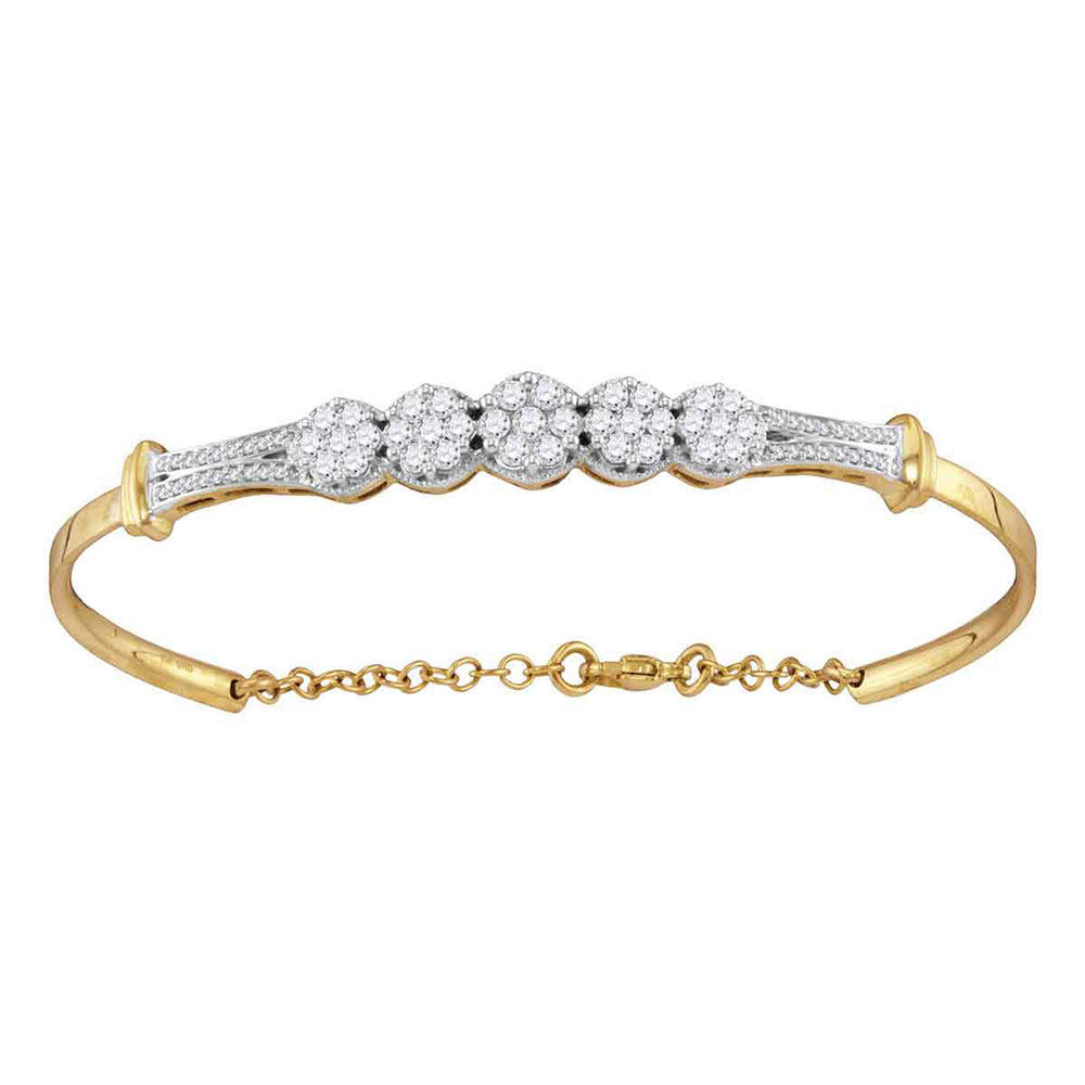 Diamond Cluster Promise Bangle Bracelet 1.00 Cttw 10kt Yellow Gold