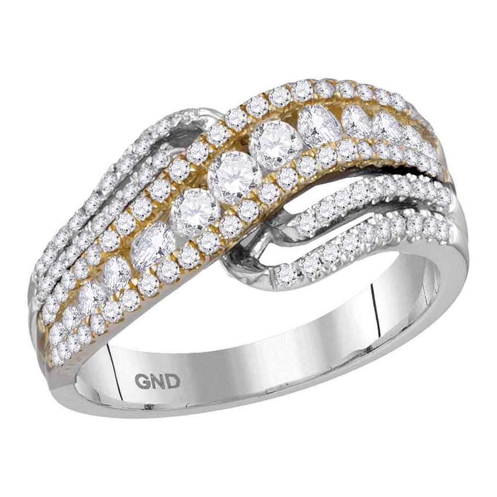 Diamond Crossover Band Ring 1.00 Cttw 14kt Two-tone White Yellow Gold