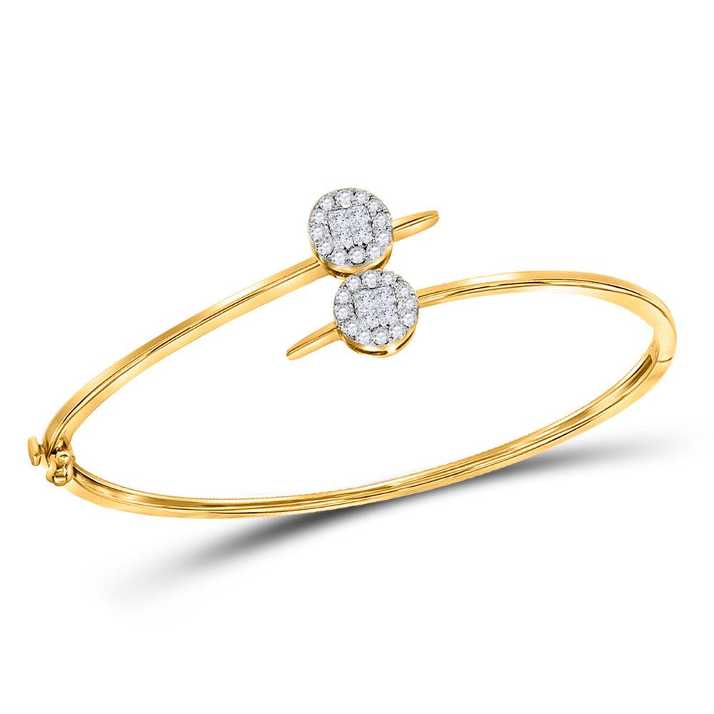 Diamond Bypass Bangle Bracelet 3/4 Cttw 14kt Yellow Gold