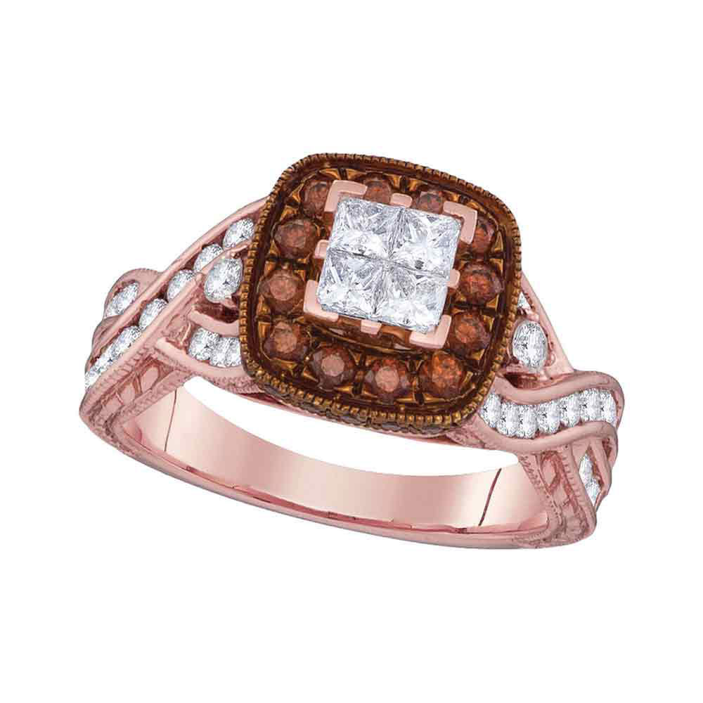 Diamond Cluster Brown Bridal Wedding Engagement Ring 1-3/8 Cttw 10kt Rose Gold