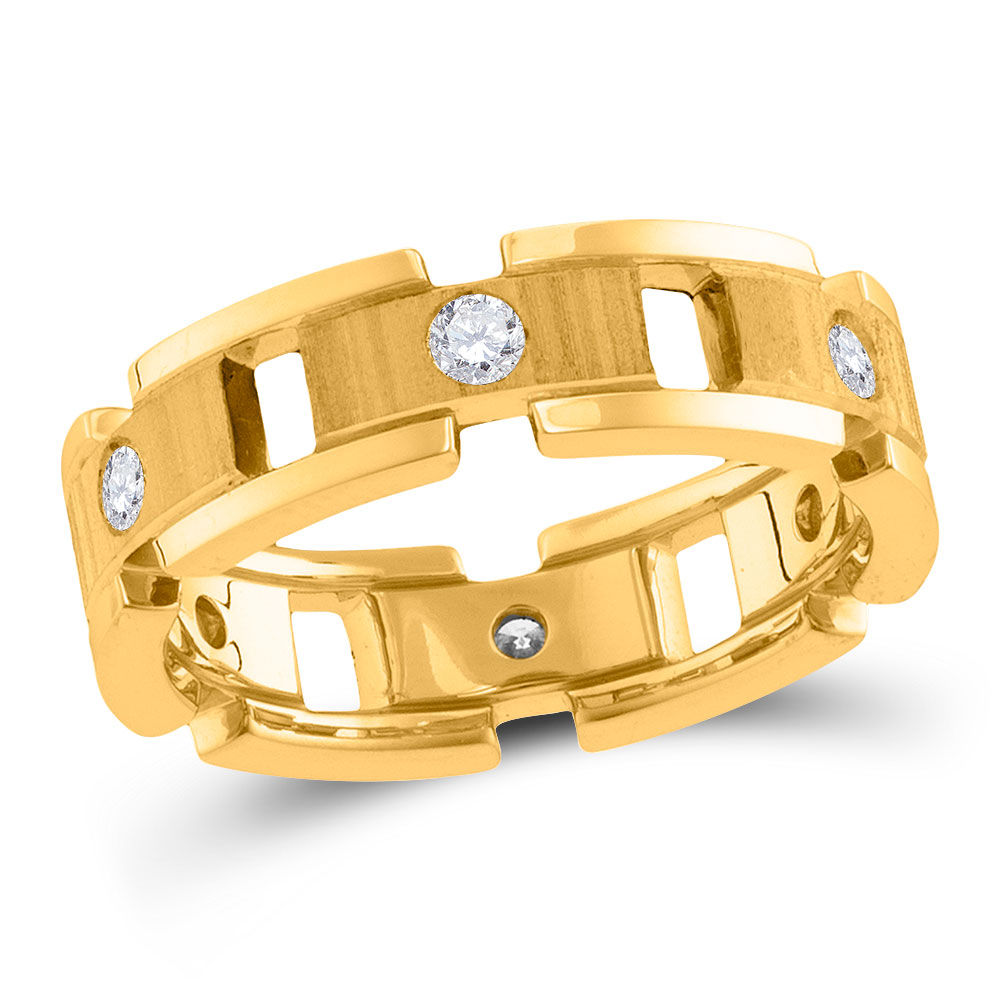 Mens Diamond Link Chain Wedding Band Ring 1/2 Cttw 14kt Yellow Gold