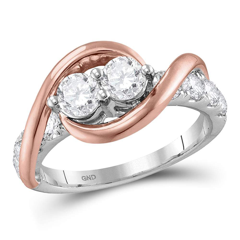 Diamond 2-stone Bridal Wedding Engagement Ring 1.00 Cttw 14kt Two-tone Gold