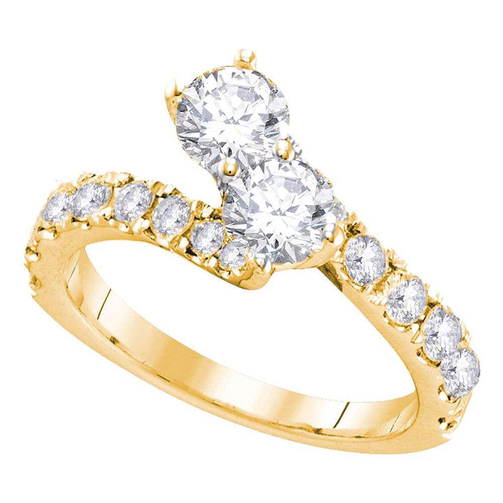 Diamond 2-stone Bridal Wedding Engagement Ring 1.00 Cttw 14kt Yellow Gold