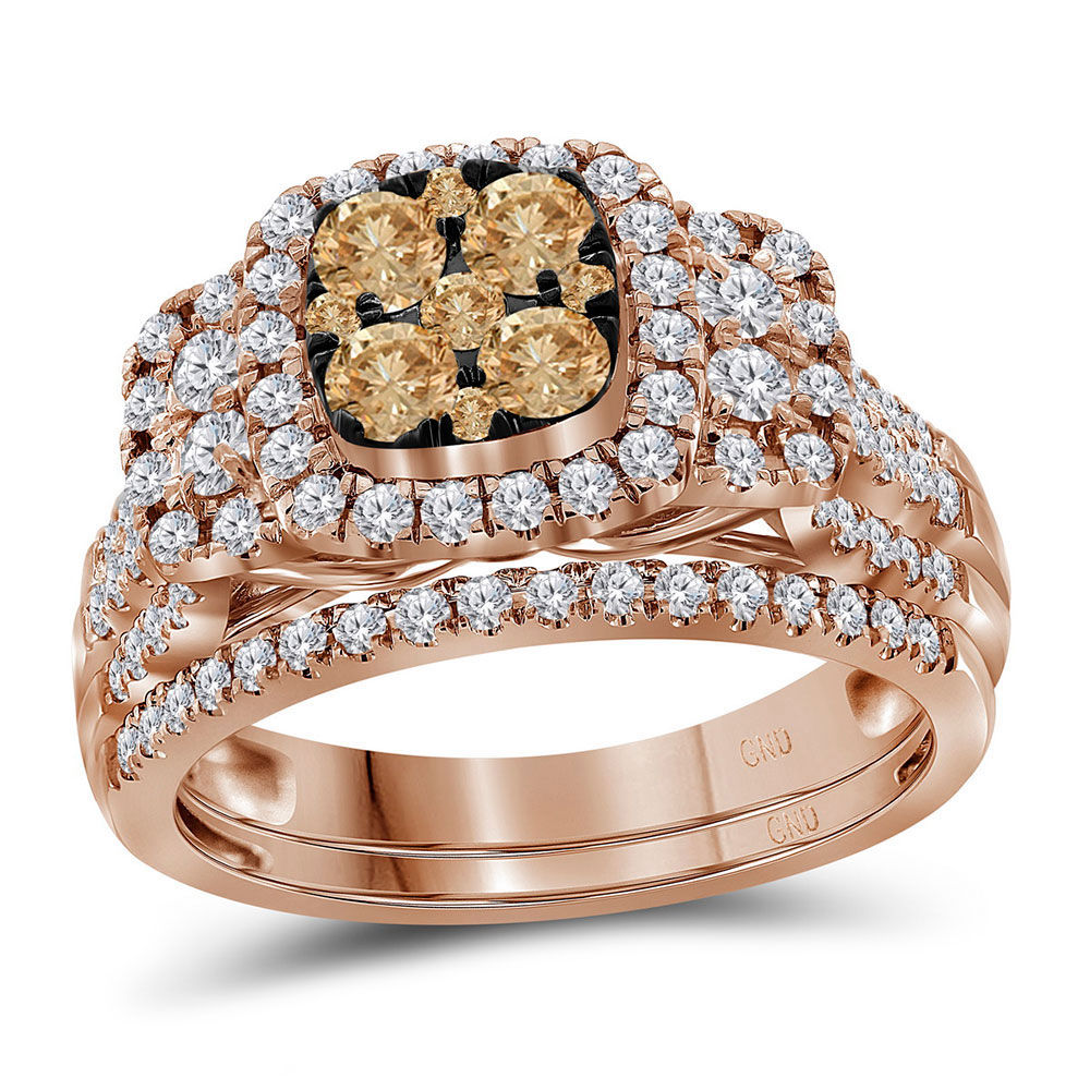 Round Brown Diamond Cluster Bridal Wedding Engagement Ring Band Set 1.00 Cttw 14kt Rose Gold
