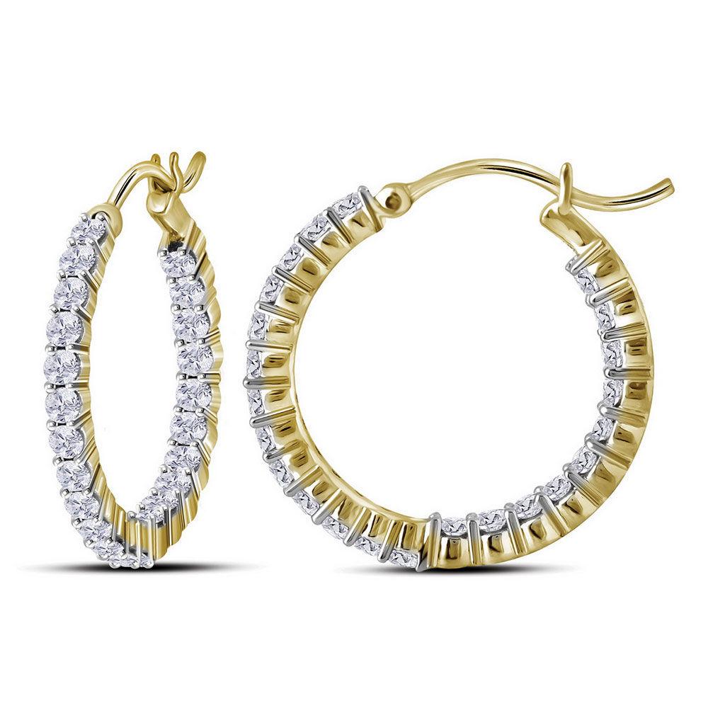 Diamond Inside Outside Hoop Earrings 2.00 Cttw 10kt Yellow Gold