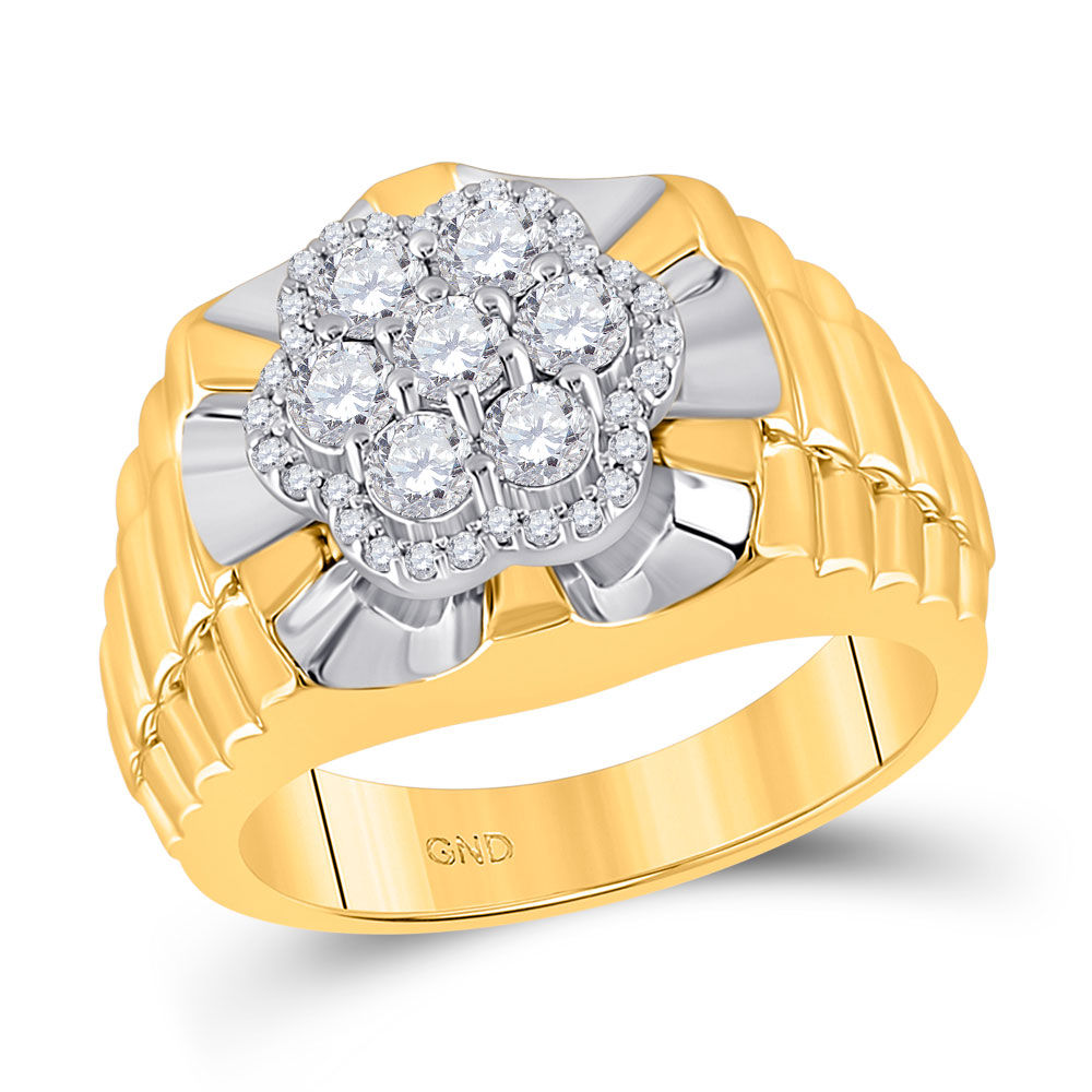 Mens Diamond Flower Cluster Ribbed Ring 1.00 Cttw 10kt Two-tone Yellow White Gold