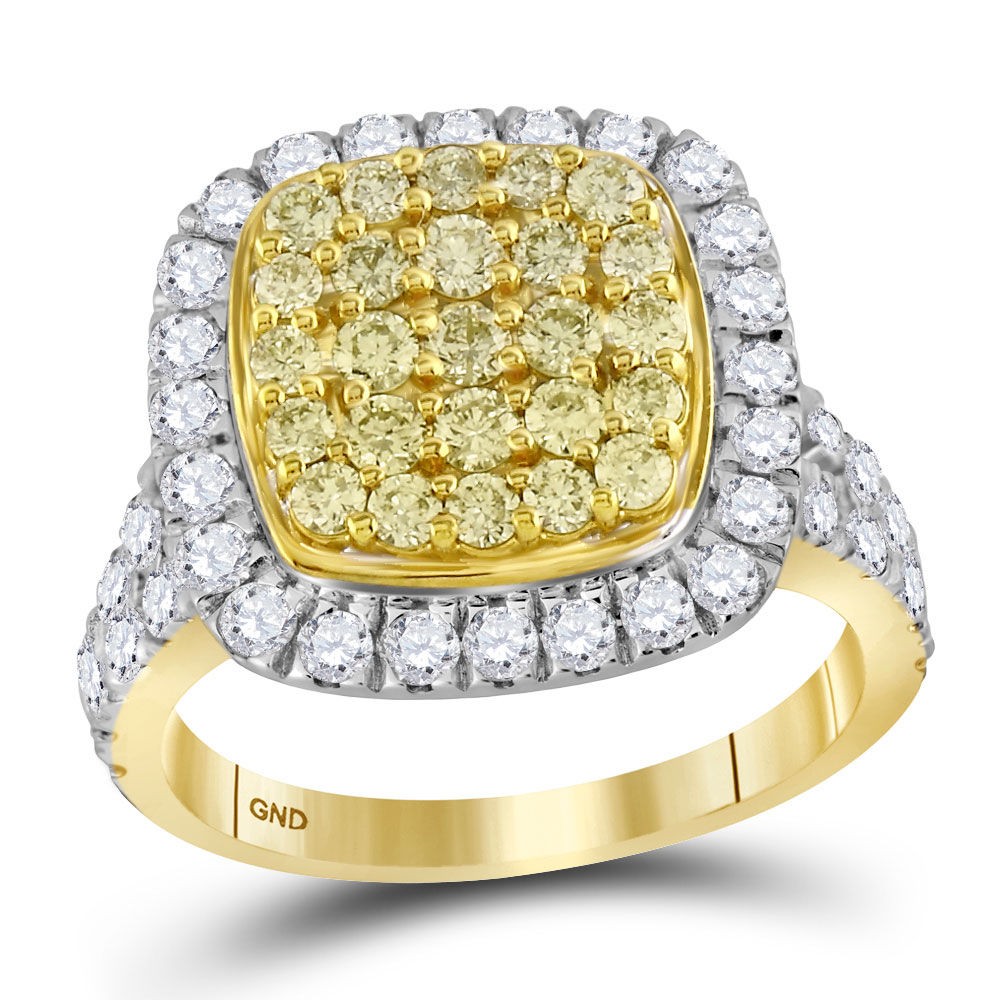 Round Natural Yellow Diamond Cluster Ring 1-3/4 Cttw 14kt Yellow Gold