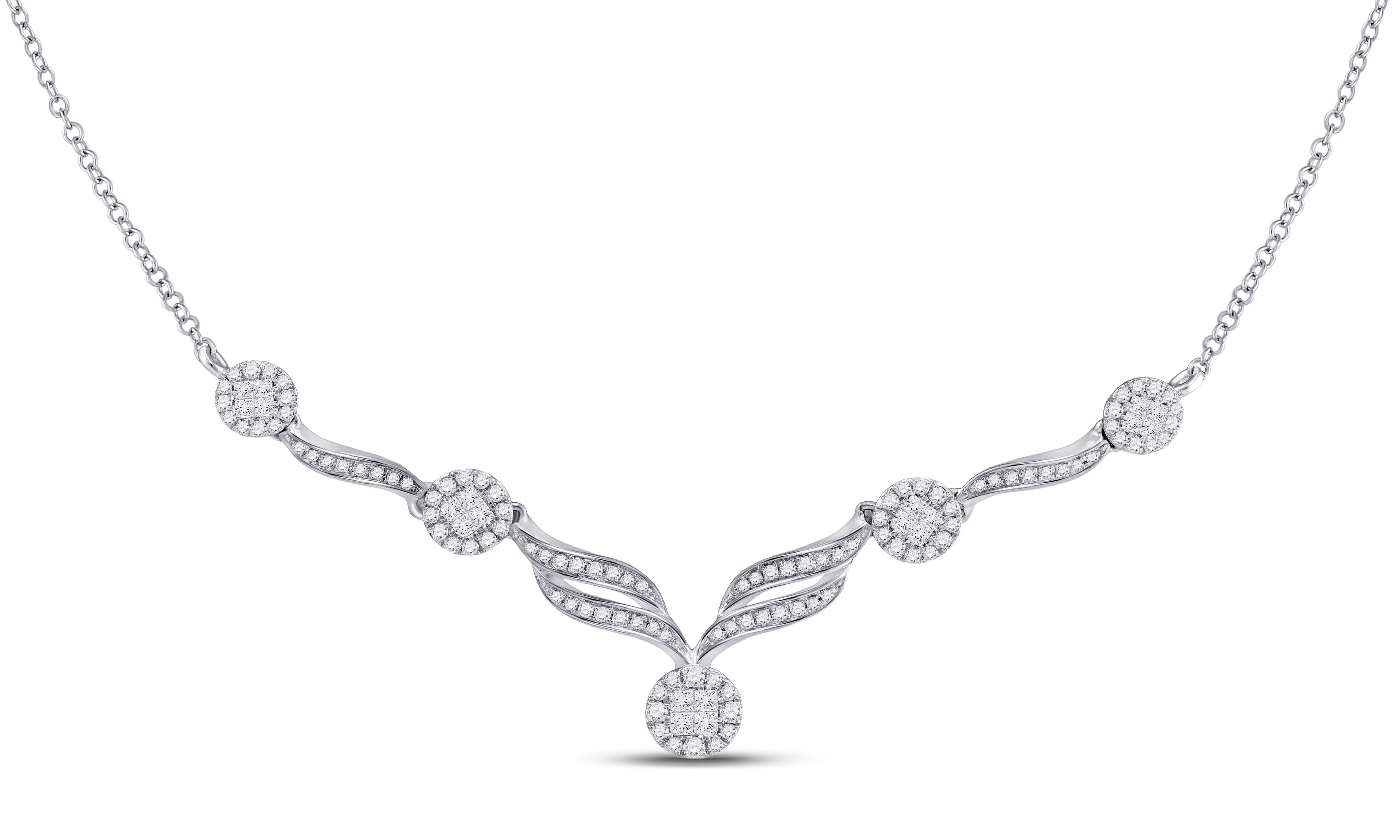 Diamond Cocktail Cluster Necklace 1.00 Cttw 14kt White Gold