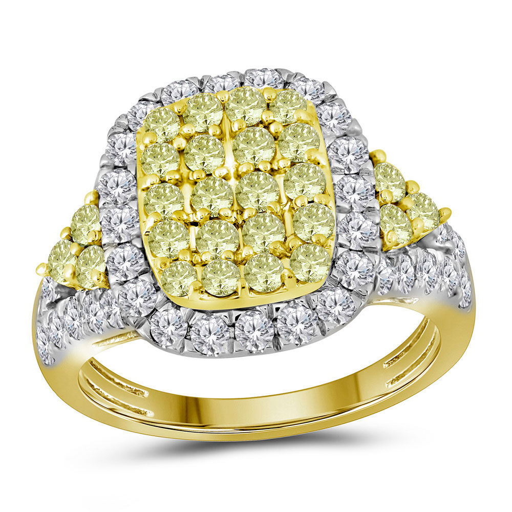 Round Canary Yellow Diamond Rectangle Cluster Ring 1-7/8 Cttw 14kt Yellow Gold