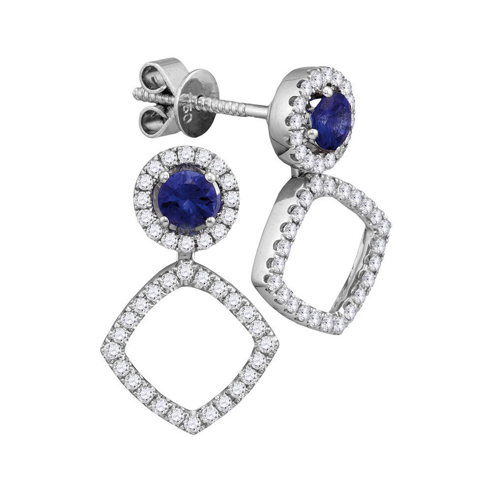 Round Blue Sapphire Convertible Square Dangle Jacket Earrings 7/8 Cttw 18kt White Gold