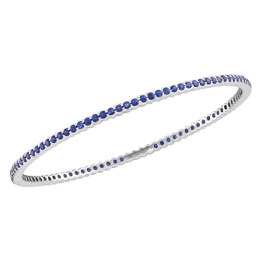 Round Blue Sapphire Single Row Bangle Bracelet 3.00 Cttw 18kt White Gold