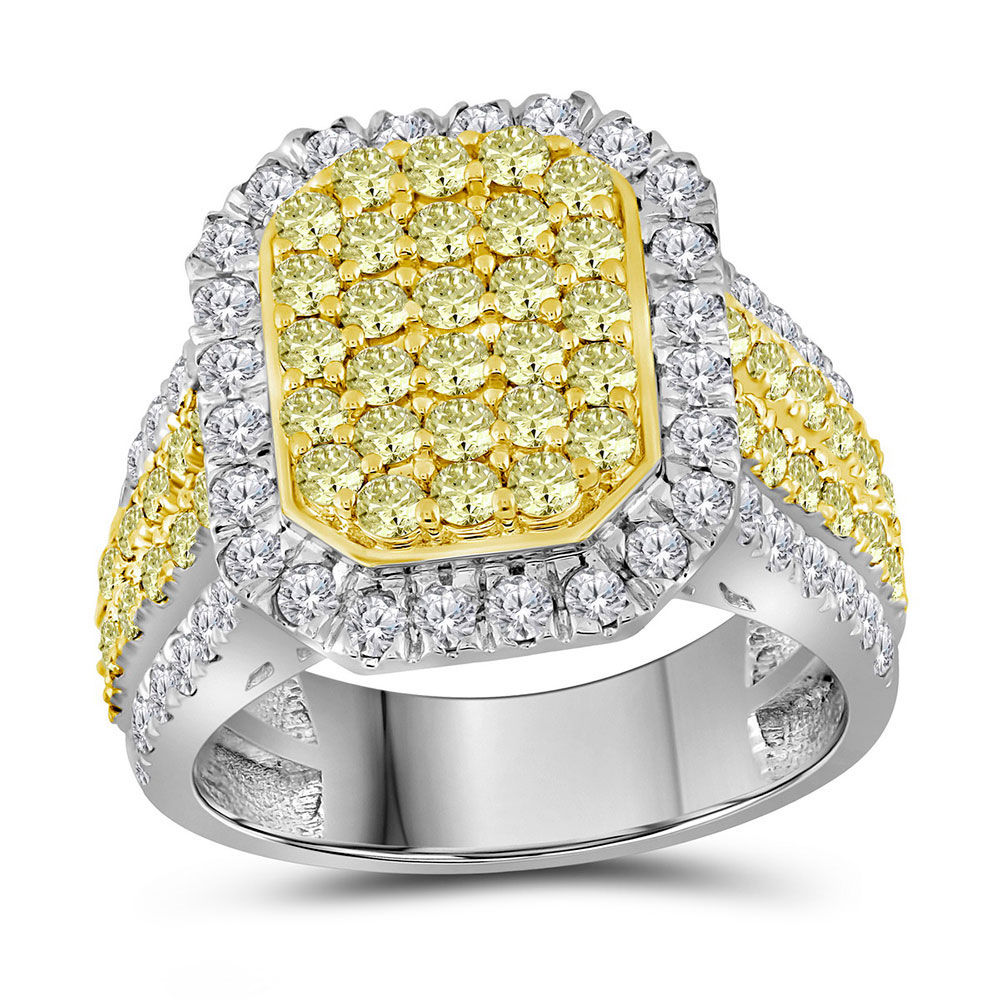 Round Canary Yellow Diamond Rectangle Cluster Ring 2-1/3 Cttw 14kt White Gold