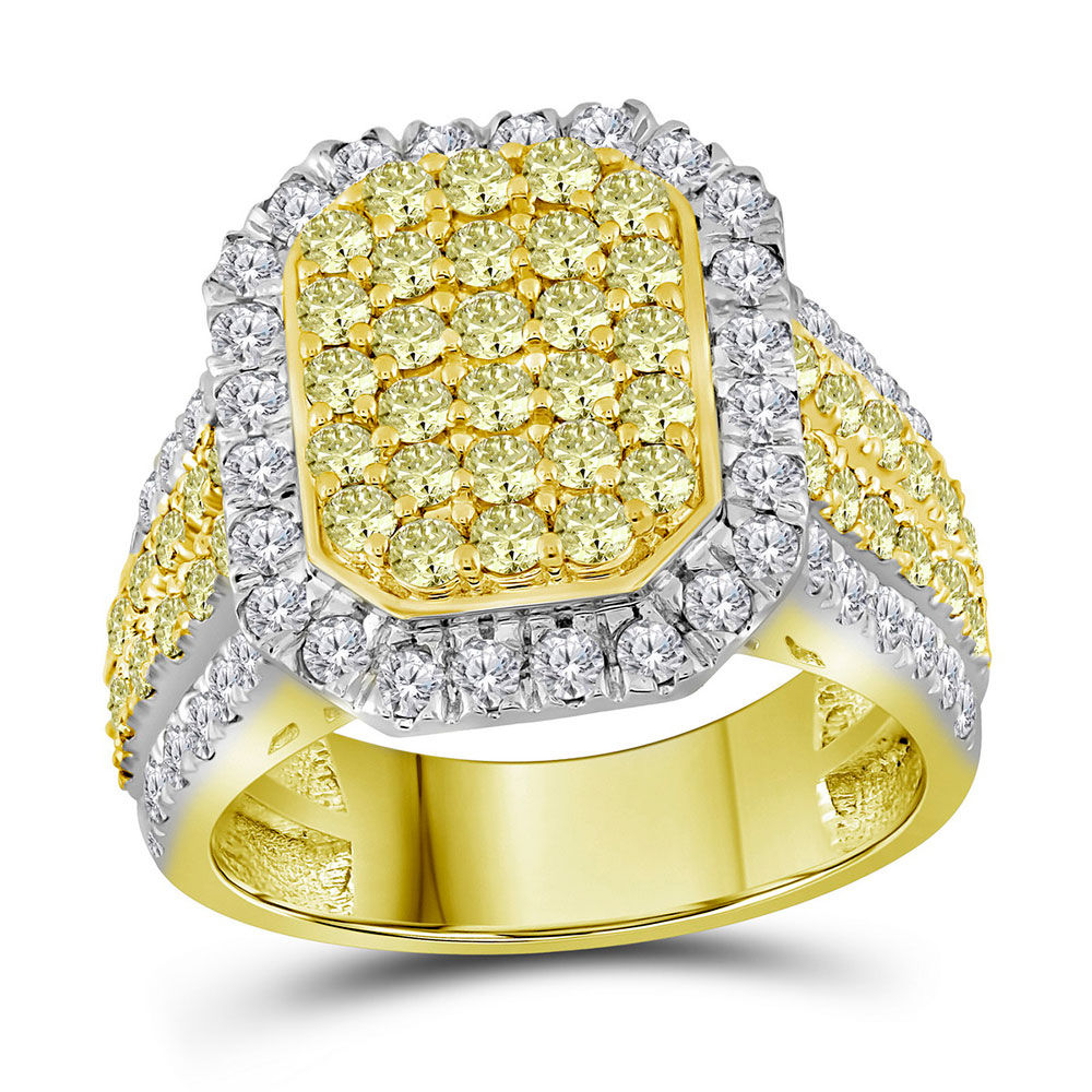 Round Canary Yellow Diamond Rectangle Cluster Ring 2-1/3 Cttw 14kt Yellow Gold