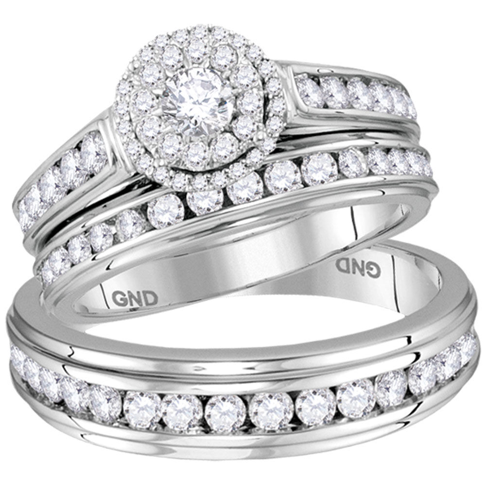 His & Hers Diamond Solitaire Matching Bridal Wedding Ring Band Set 1-5/8 Cttw 14kt White Gold
