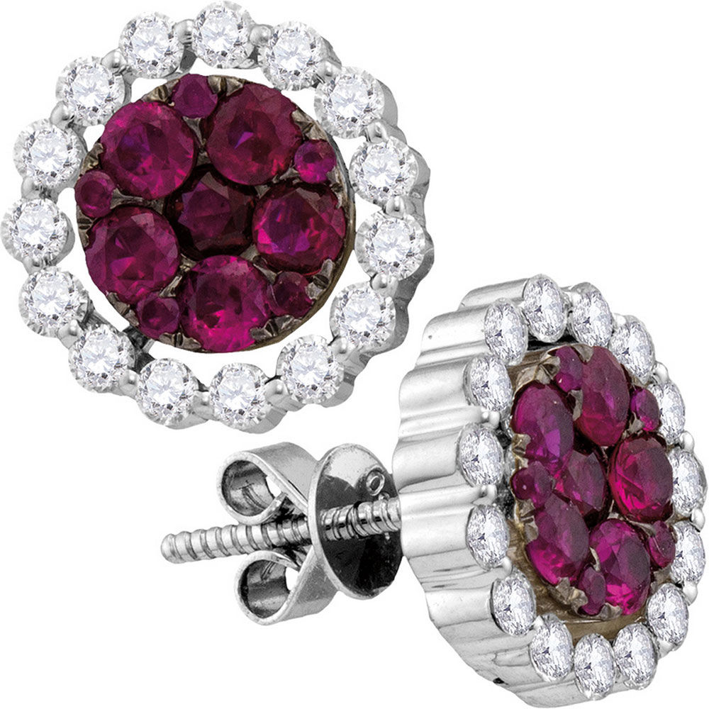 Round Ruby Diamond Convertible Dangle Jacket Earrings 2-1/4 Cttw 18kt White Gold