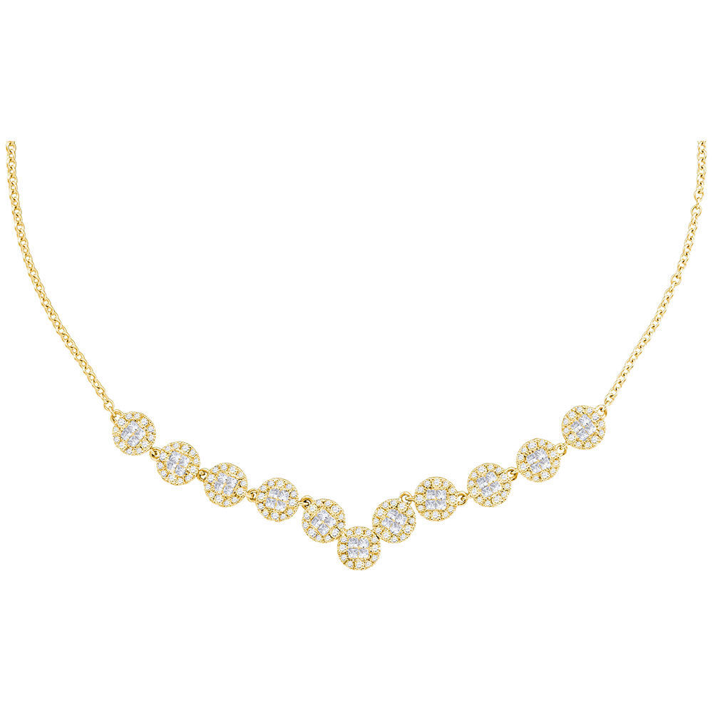 Diamond Cluster Luxury Necklace 1-7/8 Cttw 14kt Yellow Gold