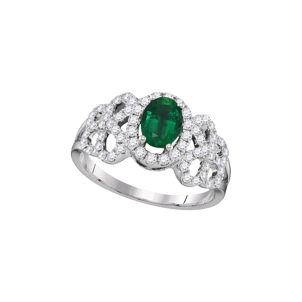 Oval Emerald Solitaire Diamond-accent Ring 1.00 Cttw 18kt White Gold