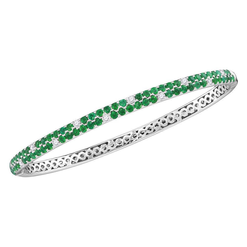 Round Emerald Diamond Double Row Bangle Bracelet 2-7/8 Cttw 18kt White Gold