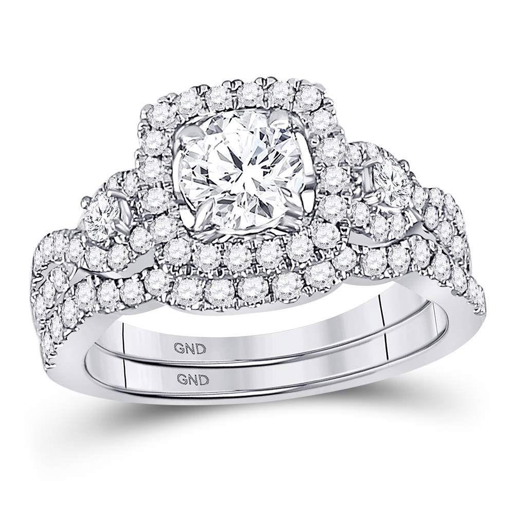 Diamond Halo Bridal Wedding Engagement Ring Band Set 1-3/4 Cttw 14kt White Gold