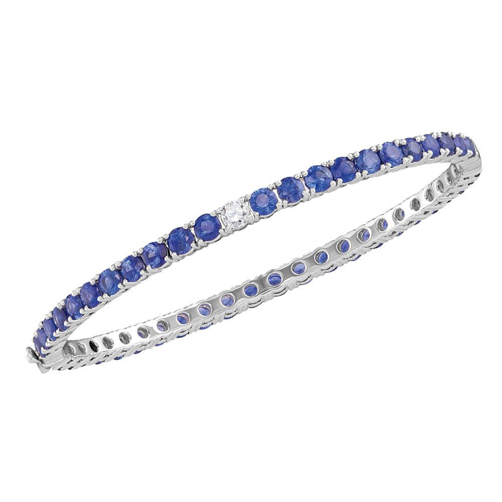 Round Blue Sapphire Bangle Bracelet 9.00 Cttw 18kt White Gold