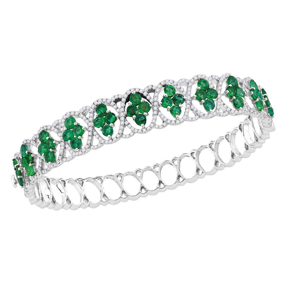 Round Emerald Diamond Bangle Bracelet 1-3/8 Cttw 18kt White Gold