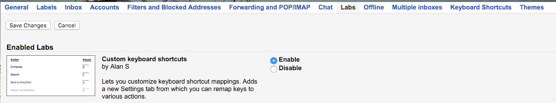 gmail tips custom shortcuts