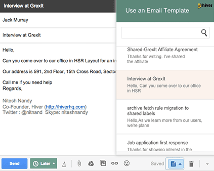 Hiver's Email template feature